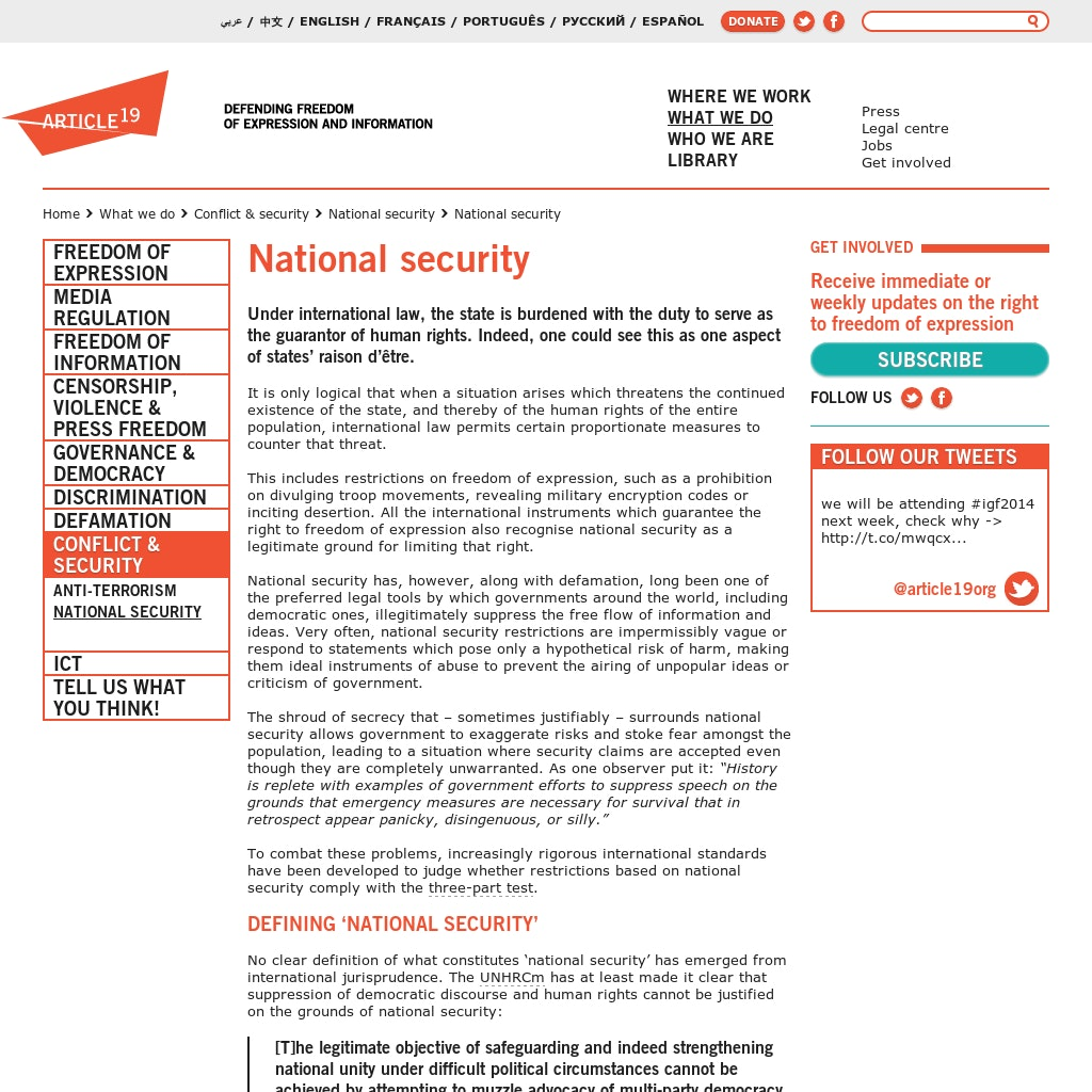 To what extent should national security be put before the rights of individual?